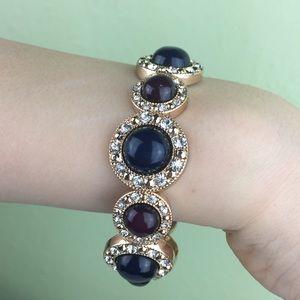 Jewelry - Gold Toned Red Blue Stone  w/Rhinestones Bracelet